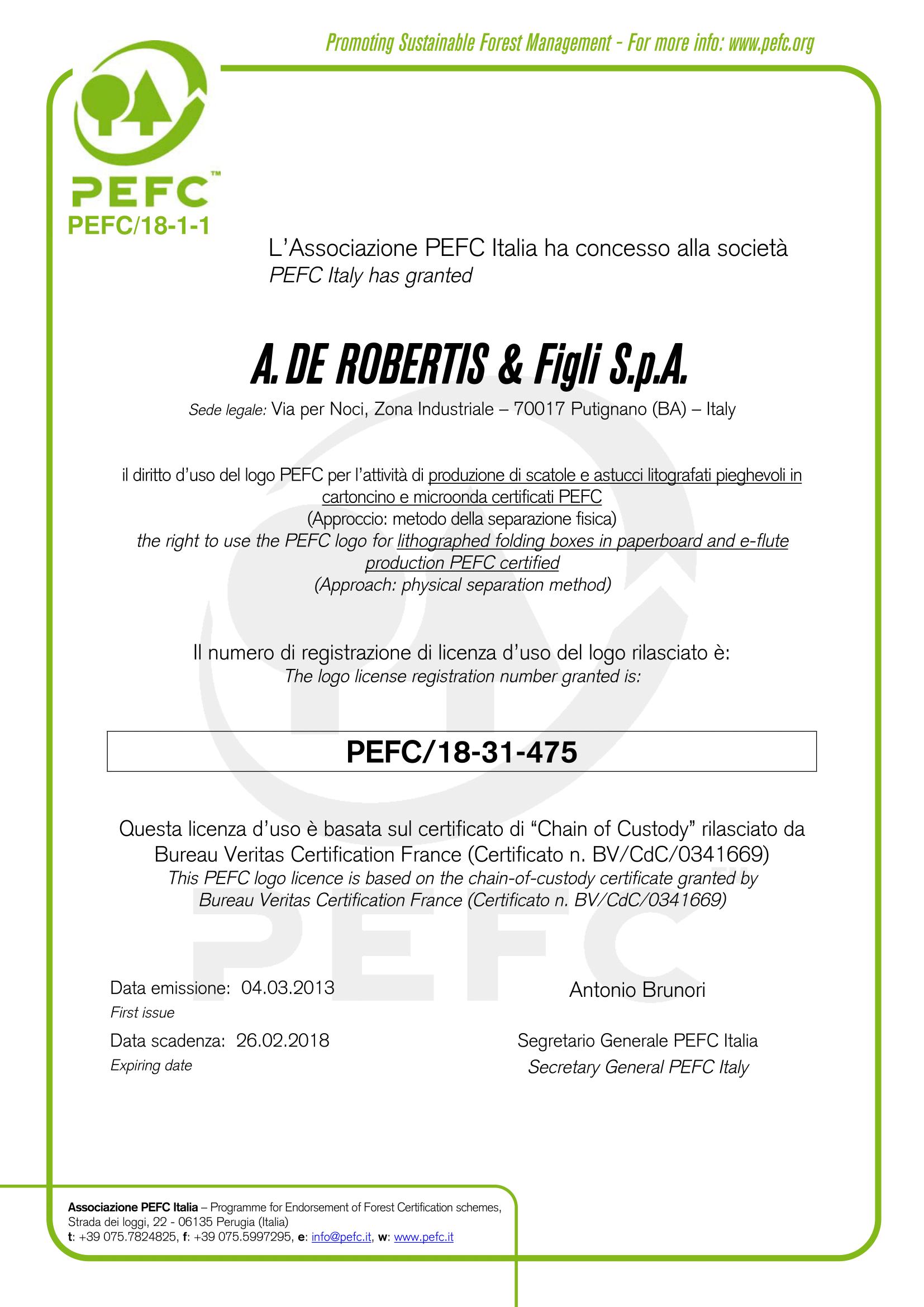 certificato-licenza-a-de-robertis-pefc-2013-1